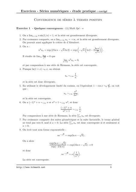 Exercices Series Numeriques Etude Pratique Corrige Bibmath