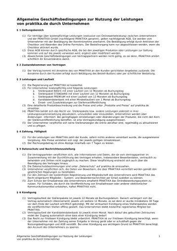 Allgemeine Geschäftsbedingungen zur Nutzung der ... - Praktika.de