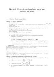 Recueil d'exercices d'analyse pour une remise à niveau