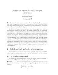 Agrégation interne de mathématiques Intégration - CMI