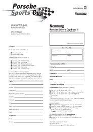 Nennung Drivers Cup 1 und 2 - Porsche Club Deutschland
