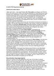 PC-Life Bericht zur PCD Hauptversammlung - Porsche Club ...