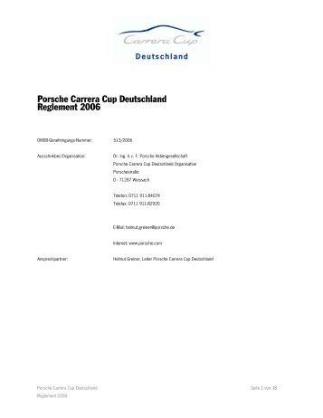 Porsche Carrera Cup Deutschland Reglement 2006 - Porsche Club ...