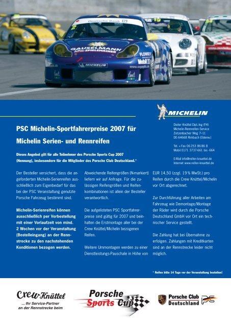 PSC Michelin-Formular - Porsche Club Deutschland
