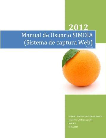 Manual de Usuario SIMDIA (Sistema de captura Web) - Senasica