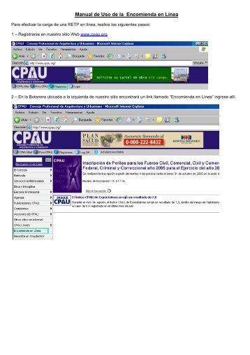 Manual de Uso de la Encomienda en Línea - CPAU