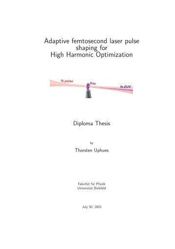 Adaptive femtosecond laser pulse shaping for High Harmonic ...