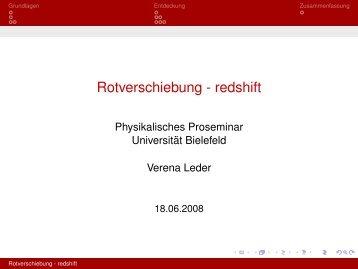Rotverschiebung - redshift - Universität Bielefeld