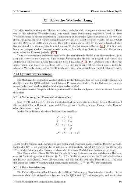 Symmetrieverletzungen; Fermi- & V–A-Modelle