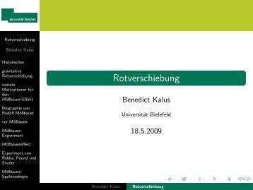 Rotverschiebung - Universität Bielefeld