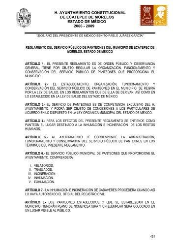 reglamento del servicio público de panteones del municipio - H ...