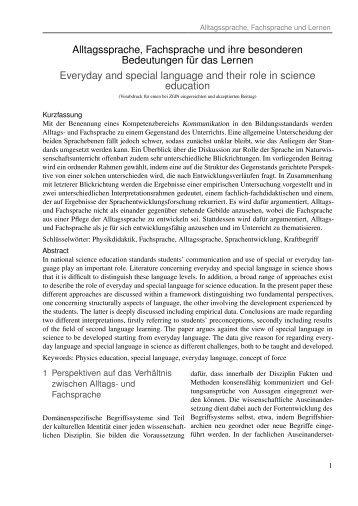 Von der Fachsprache, der Alltagssprache und ihren ... - Physik