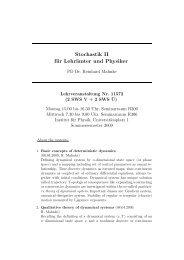 Stochastik II für Lehrämter und Physiker - Institut für Physik