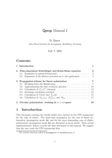 Qprop Manual I - Institut für Physik