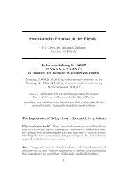 Stochastische Prozesse in der Physik - Institut für Physik