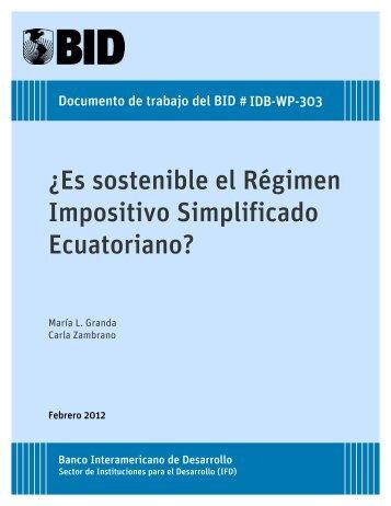 ¿Es sostenible el Régimen Impositivo Simplificado Ecuatoriano?