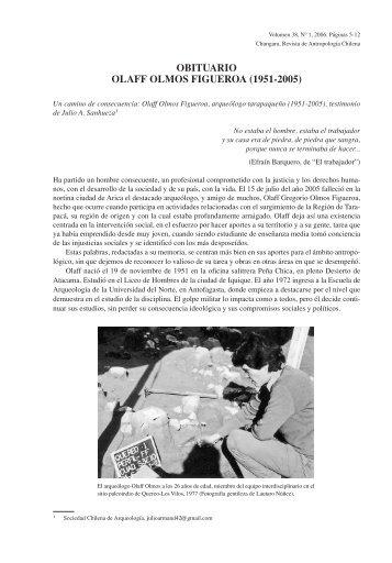 OBITUARIO OLAFF OLMOS FIGUEROA (1951-2005) - SciELO