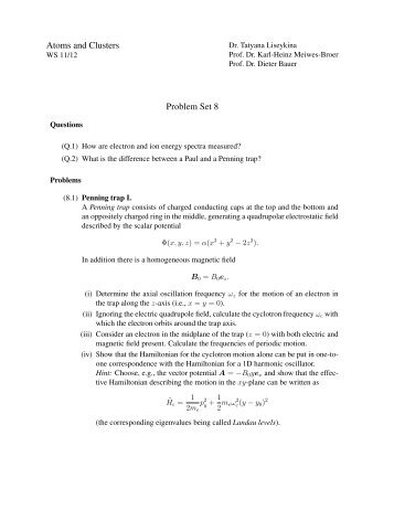 Atoms and Clusters Problem Set 8