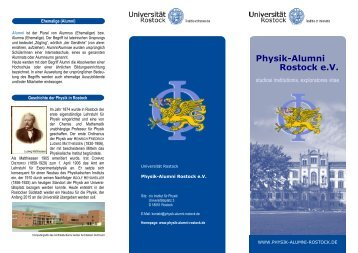 Flyer: Physik-Alumni Rostock e.V.: studiosi institutionis, exploratores