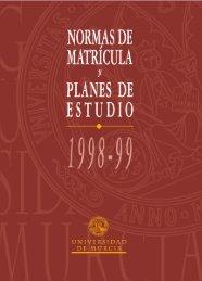 Normas de matrícula y planes de estudio 1998-99