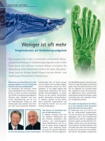 Weniger ist oft mehr - Dr. med. Hans-Otto Breithaupt