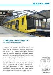 Underground train type IK for Berliner Verkehrsbetriebe - Stadler