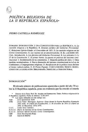 política religiosa de la ii república española - Universidad de Navarra