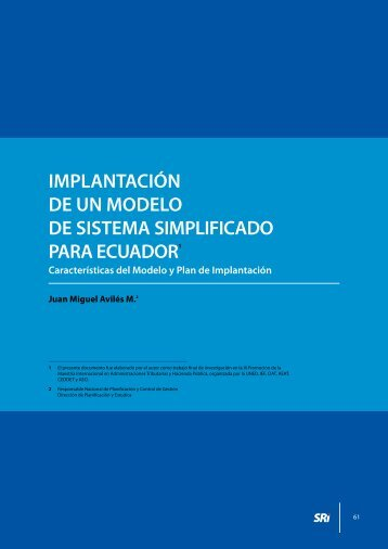 Implantación de un modelo de sistema simplificado para Ecuador