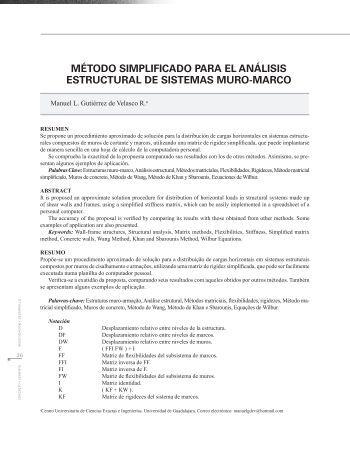 método simplificado para el análisis estructural de sistemas muro