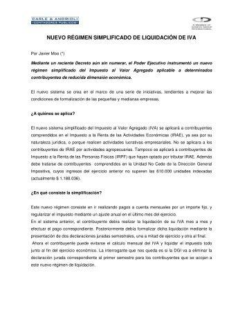 Nuevo régimen simplificado de liquidación del IVA - Carle & Andrioli