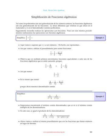 Simplificación de Fracciones algebraicas - Aprende Matemáticas