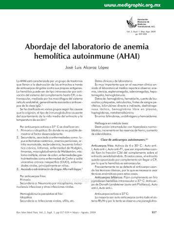 Abordaje del laboratorio de anemia hemolítica ... - edigraphic.com