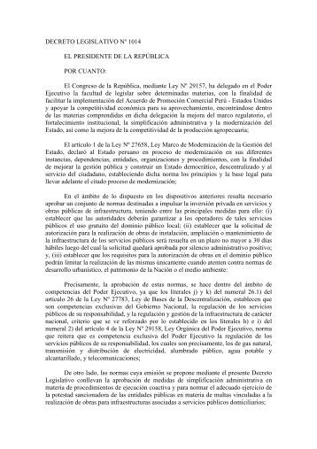 DECRETO LEGISLATIVO Nº 1014 EL PRESIDENTE DE ... - Indecopi