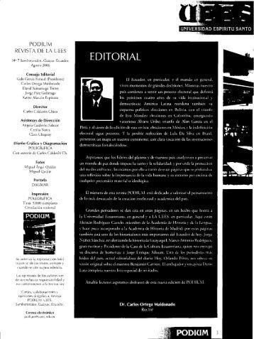 podium revista de la uees - Universidad de Especialidades Espíritu ...