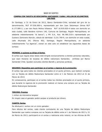 BASES DE SORTEOS - Banco Santander