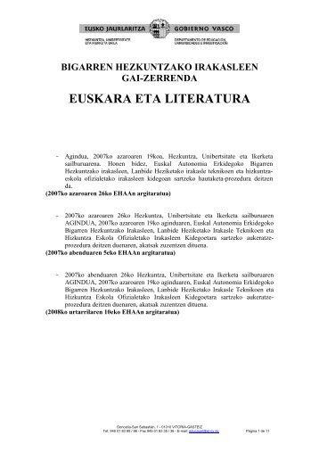 EUSKARA ETA LITERATURA - Izenpe