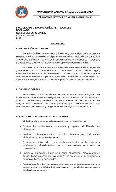Derecho Civil IV - Universidad Mariano Gálvez