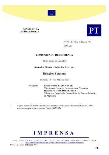 COMUNICADO DE IMPRENSA 2800.ª sessão do Conselho - Europa