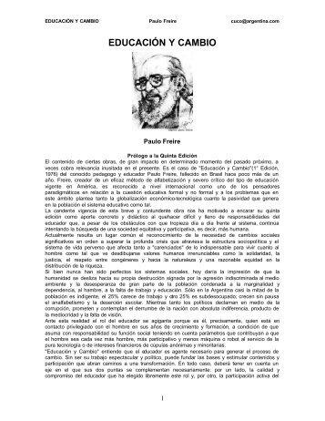 EDUCACIÓN Y CAMBIO Paulo Freire - ESTRATEGIA DIDACTICA