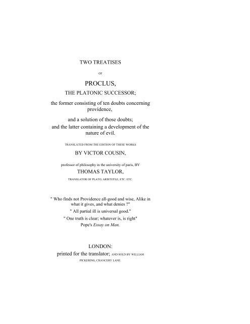 PROCLUS, THE PLATONIC SUCCESSOR
