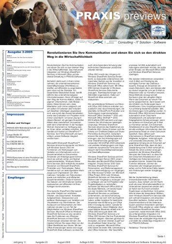 PRAXIS Previews 3 Ausgabe 2005 - Praxis EDV