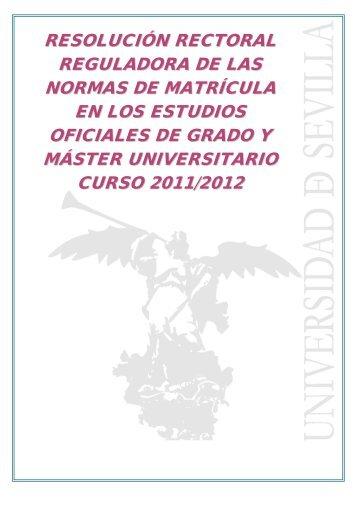 Estudios de Grado y Master Universitario curso 2011/12