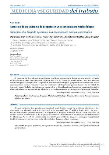 Detección de un síndrome de Brugada en un ... - SciELO España