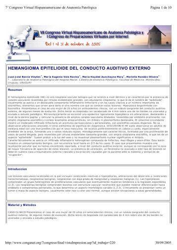 hemangioma epitelioide del conducto auditivo externo - Comunidad ...