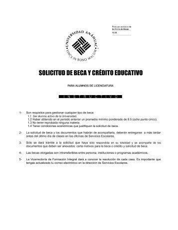 Solicitud de beca - Universidad Anáhuac México Sur