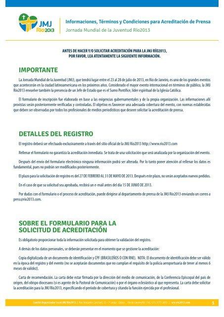 importante detalles del registro sobre el formulario ... - JMJ Rio 2013