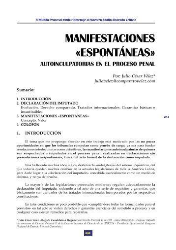 """Manifestaciones """"Espontáneas"""" Autoinculpatorias en el ... - EGACAL"""