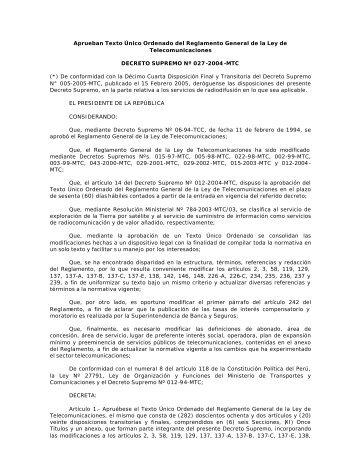 TUO del Reglamento General de la Ley de Telecomunicaciones…