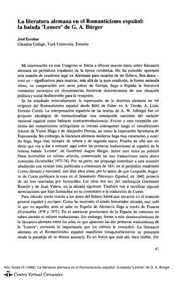 Actas IX. AIH. La literatura alemana en el Romanticismo español: la ...
