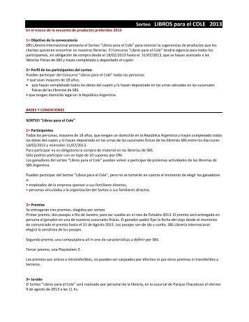 Sorteo LIBROS para el COLE 2013 - SBS Librería Internacional